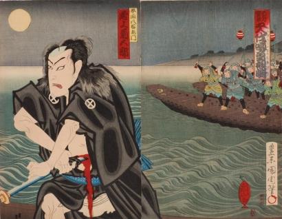 toyohara kunichika kabuki actor onoe kikugoro in the role of