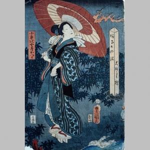 歌川国貞: Woman Visited by Fire - Art Gallery of Greater Victoria
