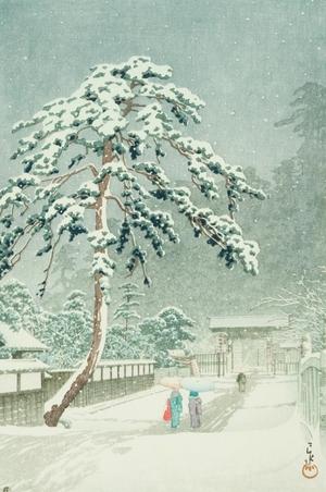 川瀬巴水: Honmon Temple at Ikegami - Art Gallery of Greater Victoria