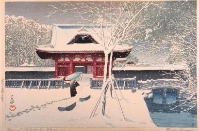 川瀬巴水: Evening Snow at Shiha Park, Tokyo - Art Gallery of Greater Victoria