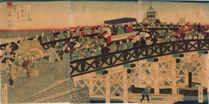 Utagawa Yoshitora: Wooden Bridge in Front of First National Bank - Art Gallery of Greater Victoria