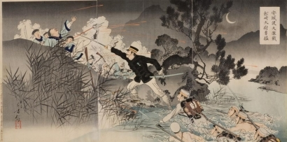 Mizuno Toshikata: Captain Matsuzaki during the Song-Huang Battle - Art Gallery of Greater Victoria