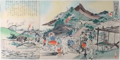 Utagawa Kokunimasa: Red Cross at Tsunami Rescue - Art Gallery of Greater Victoria