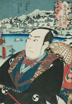 歌川国貞: Takanawa between Nihonbashi and Shinagawa, Ichikawa Omezo as Oinishi Kuranosuke - Art Gallery of Greater Victoria