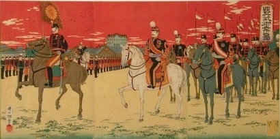 井上安治: Emperor Meiji Inspecting the Imperial Troops - Art Gallery of Greater Victoria