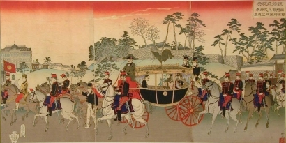 Adachi Ginko: Emperor Meiji and Empress in a Carriage during their Silver Wedding Anniversary - Art Gallery of Greater Victoria