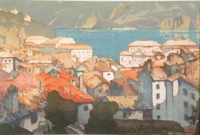 吉田博: The Town of Lugano - Art Gallery of Greater Victoria