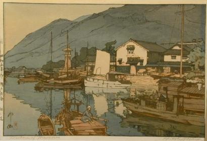 吉田博: Harbour of Tomonoura - Art Gallery of Greater Victoria