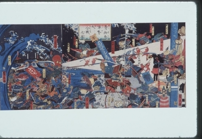 歌川広景: The Great Battle between the Forces of the Vegetables and Fishes - Art Gallery of Greater Victoria