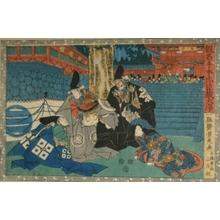 歌川芳虎: The Fourty-seven Ronin: Act l. Lady Enya with Tadayoshi and Wakasa at Hachiman Shrine - Art Gallery of Greater Victoria