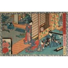 歌川芳虎: Fourty-seven Ronin: Act ll. Konami receives Rikiya; Honzo cuts a Pine - Art Gallery of Greater Victoria