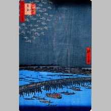 Utagawa Hiroshige: Fireworks at Ryogoku Bridge - Art Gallery of Greater Victoria
