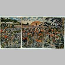 Utagawa Kuniyasu: Yoritomo Minamoto and Hunting Party - Art Gallery of Greater Victoria