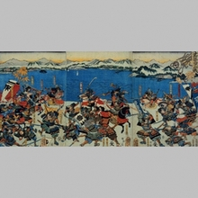 歌川芳虎: Battle at Seta, Goshu - Art Gallery of Greater Victoria