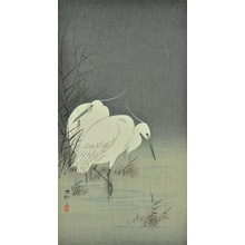 小原古邨: Two Egrets at Night - Art Gallery of Greater Victoria