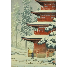 川瀬巴水: Saishoin Temple in Snow, Hirosaki - Art Gallery of Greater Victoria