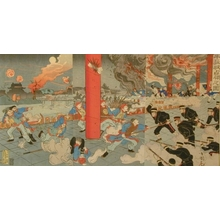 Utagawa Kokunimasa: The Invasion of the City of Niuzhuang by the Japanese Army - Art Gallery of Greater Victoria