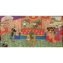 Utagawa Kokunimasa: Ceremony on the Occasion of the Meiji Emperor's Silver Wedding Anniversary - Art Gallery of Greater Victoria