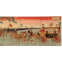 井上安治: The Emperor Meiji and Empress in a Carriage during their Silver Wedding Anniversary Celebration at Aoyama - Art Gallery of Greater Victoria