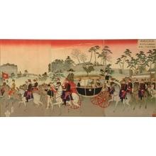 安達吟光: Emperor Meiji and Empress in a Carriage during their Silver Wedding Anniversary - Art Gallery of Greater Victoria