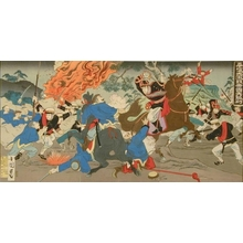 Utagawa Kokunimasa: Great Battle of the Japanese Imperial Army at Pingyang - Art Gallery of Greater Victoria