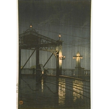 Kawase Hasui: Night Rainfall on Bridge - Art Gallery of Greater Victoria