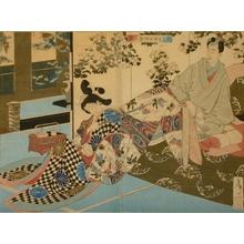 月岡芳年: Osame, a Concubine of the Lord of Sendai Fief, Learning Courtesanship - Art Gallery of Greater Victoria