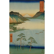 Utagawa Hiroshige: Fuji seen from the far side of Lake Suwa - Art Gallery of Greater Victoria