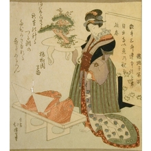 Totoya Hokkei: Woman with Bonsai & Tray of Fish - Art Gallery of Greater Victoria