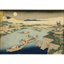 葛飾北斎: Moonlight on the Yodo River - Art Gallery of Greater Victoria