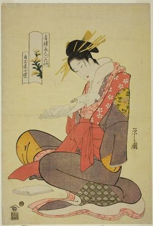細田栄之: Komurasaki of the Kadotamaya, from the series Six Flowery Immortals of the Pleasure Quarters (Seiro bijin rokkasen) - シカゴ美術館