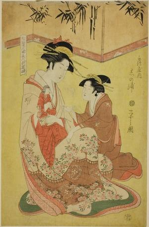 Hosoda Eishi: Beauties Parodying the Seven Sages - A Selection of Younger Courtesans (Shichi kenjin yatsushi bijin shinzô zoroe): Shinoura of the Tsuruya - Art Institute of Chicago