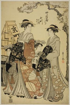 細田栄之: Nanamachi of the Yotsumeya with Attendants Sumano and Akashi - シカゴ美術館