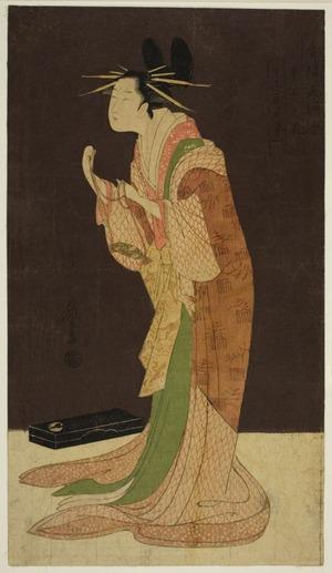 Hosoda Eishi: A Selection of Beauty from the Pleasure Quarters (Seiro bisen awase): Misayama of the Chojiya in Night Dress (Tokogi no zu - Chojiya Misayama) - Art Institute of Chicago