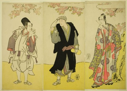 Katsukawa Shunsho: The Actors Sawamura Sojuro III as Kusunoki Tatewaki Masatsura (right), Onoe Matsusuke I as the Monk Sahei Bozu (center) and Ichikawa Yaozo III as the Prince's Servant Kusunoki Uraminosuke (left), in the Play Kumoi no Hana Yoshino no Wakamusha, Performed at the Nakamura Theater in the Eleventh Month, 1786 - Art Institute of Chicago
