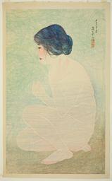 """伊東深水: Early Summer Bath, from the series """"Twelve Images of Modern Beauties"""" - シカゴ美術館"""