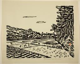 Hiratsuka Un'ichi: Sunset at Matsue Castle, Shimane Prefecture - Art Institute of Chicago