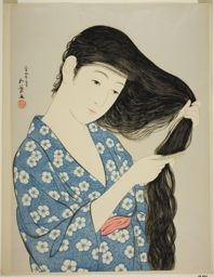 橋口五葉: Woman Combing her Hair - シカゴ美術館