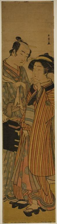勝川春章: The Actors Segawa Kikunojo III as Okoma (right), and Arashi Sangoro III as the Hairdresser Obana Saizaburo (left), in the Play Koi Musume Mukashi Hachijo, Performed at the Nakamura Theater in the Third Month, 1776 - シカゴ美術館