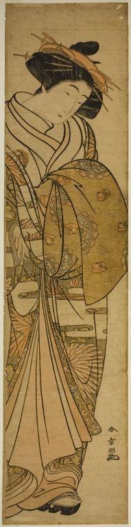 勝川春章: Courtesan Wearing a Chrysanthemum-Patterned Kimono - シカゴ美術館
