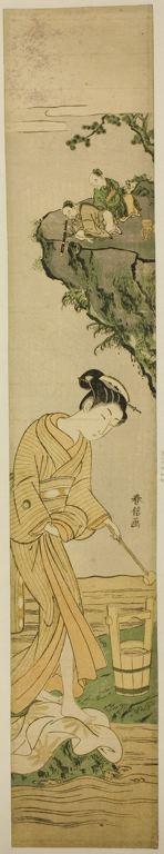 鈴木春信: Taoist Immortals Spying on a Young Beauty - シカゴ美術館