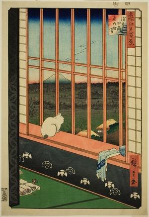 歌川広重: Asakusa Rice Field during the Cock Festival at Otori Shrine (Asakusa tanbo tori no machi mode), from the series