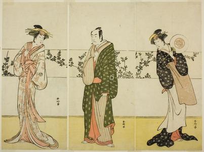 勝川春好: The Actors Osagawa Tsuneyo II (right), Ichikawa Monnosuke II (center), and Segawa Kikunojo III (left), Possibly as Misao Gozen, Matsuya Soshichi, and the Courtesan Kojoro of Hakata, in the Play Chiyo no Hajime Ondo no Seto (Beginnings of Eternity: The Ondo Straits in the Seto Insland Sea) (?), Performed at the Kiri Theater from the Twenty-seventh Day of te Seventh Month, 1785 - シカゴ美術館