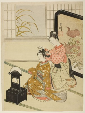 鈴木春信: Eight Indoor Scenes (Zashiki Hakkei): A Mirror Stand-The Autumn Moon (Kyôdai no shûgetsu) - シカゴ美術館