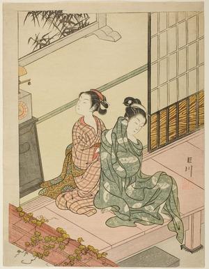 鈴木春信: Eight Indoor Scenes (Zashiki Hakkei): A Clock Chimes-The Vesper Bell (Tokei no banshô) - シカゴ美術館