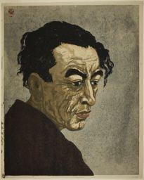 恩地孝四郎: Portrait of the Poet Hagiwara Sakutaro (1886–1942), Author of