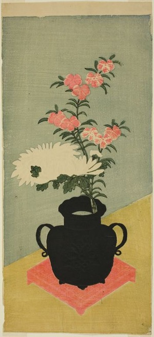 Ippitsusai Buncho: White Chrysanthemums and Pinks in a Black Vase - Art Institute of Chicago