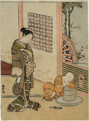 鈴木春信: The Sleeping Chabo-zu - シカゴ美術館