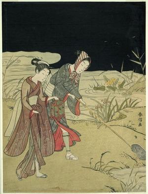 鈴木春信: Catching Fireflies - シカゴ美術館
