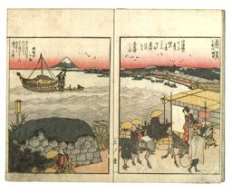 葛飾北斎: Panoramic Views along the Banks of Sumida River (Ehon Sumidagawa ryogan ichiran) - シカゴ美術館